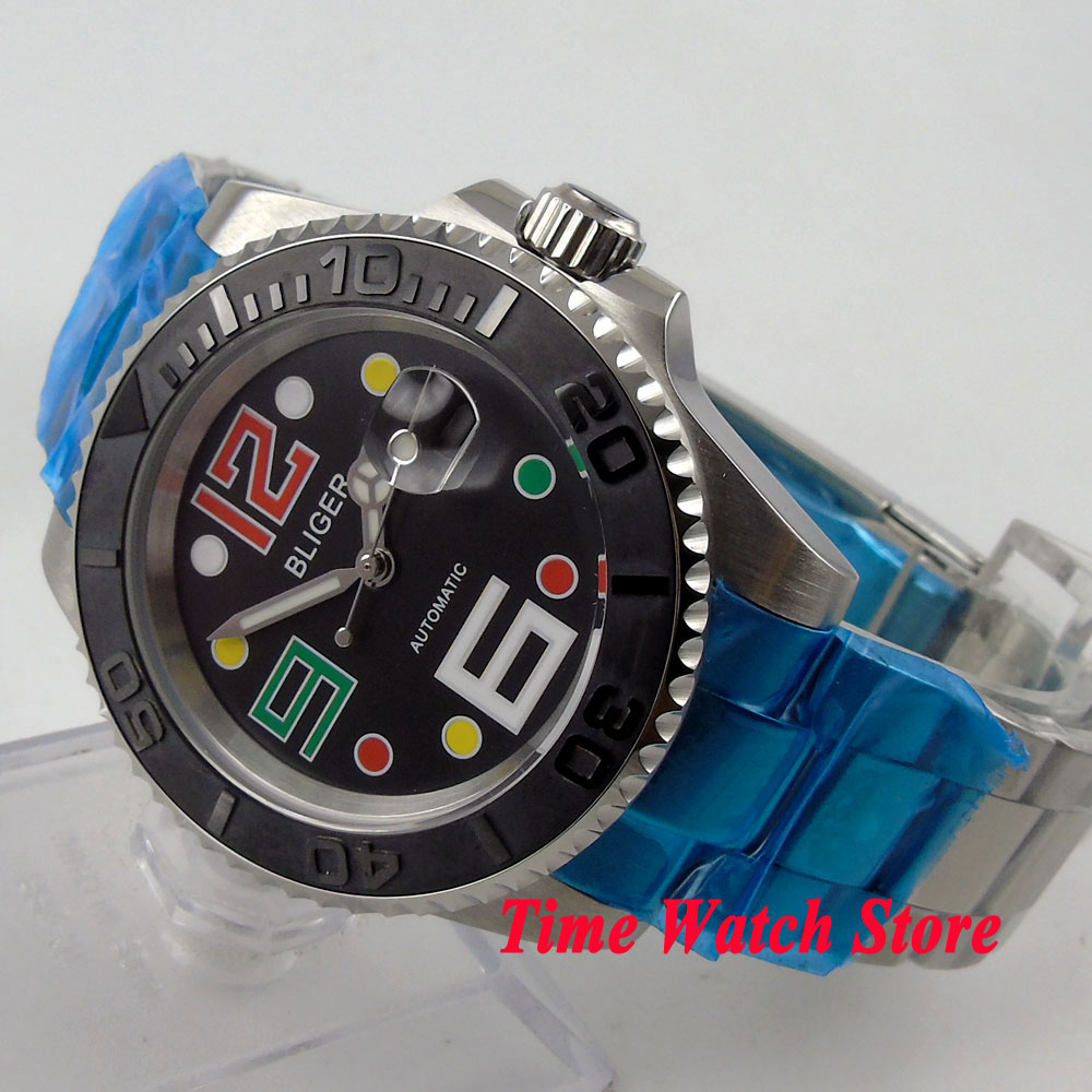 Bliger 40mm black dial date colorful marks luminous saphire glass SUB Automatic movement  Mens watchBliger 40mm black dial date colorful marks luminous saphire glass SUB Automatic movement  Mens watch