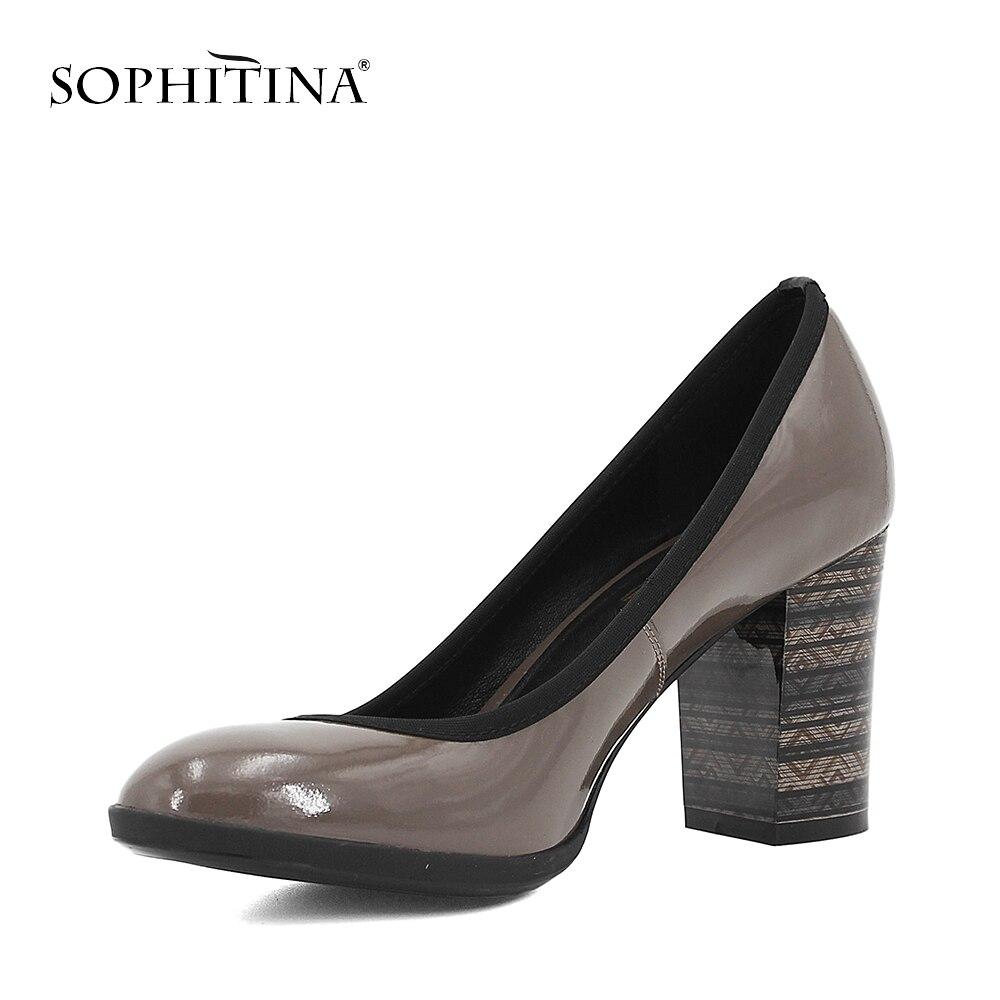 SOPHITINA élégant en cuir véritable pompes femme en peau de mouton haute épaisseur talons pompes solide bout rond bureau dame classique chaussures D01 - 2