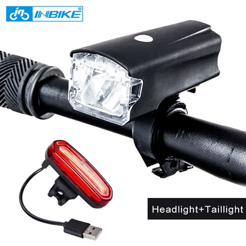 INBIKE Bicycle Light Bike Headlight USB Rechargeable Cycling Led Light MTB Bicycle Accessories Battery Flashlight Add Taillight