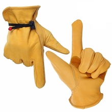 High Quality Waterproof Work Gloves Safety Garden Gloves Leather Welding Protective for Glass Handling Size L