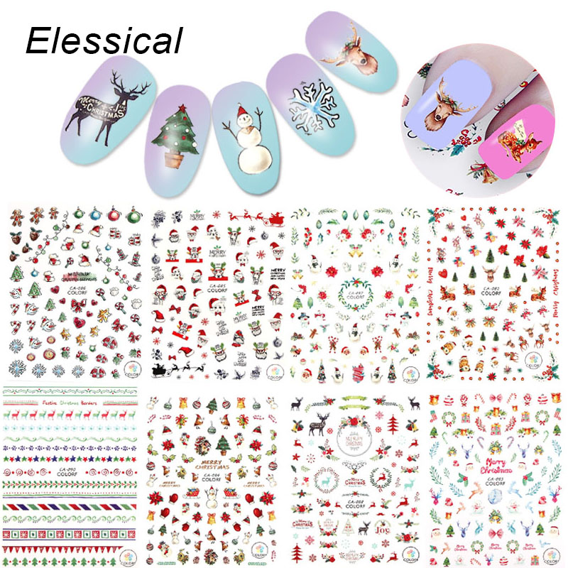 ELESSICAL 1 Pcs Colorful Christmas Theme Nail Art Stickers Design Gel Polish Decorations Nail Decals For Manicure WY1127-WY1135 24pcs lot 3d nail stickers decal beauty summer styles design nail art charms manicure bronzing vintage decals decorations tools