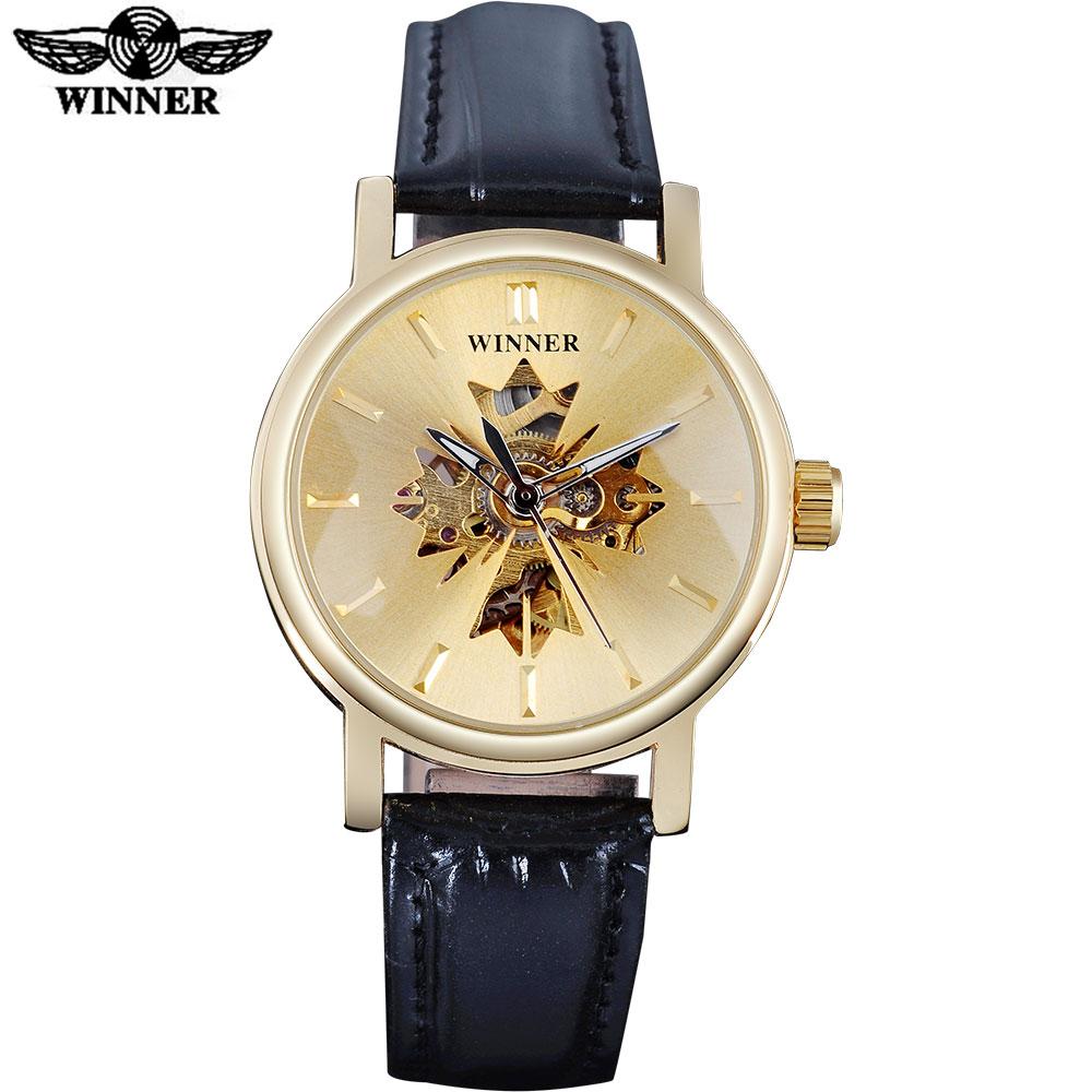 Prix pour 2017 GAGNANT célèbre marque femmes montres de luxe automatique auto vent montre squelette cadrans transparent en verre boîtier en or en cuir bande