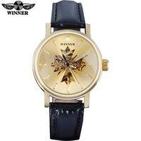 2017 WINNAAR beroemde merk vrouwen horloges luxe automatische wind horloge skelet wijzerplaten transparant glas gold case lederen band