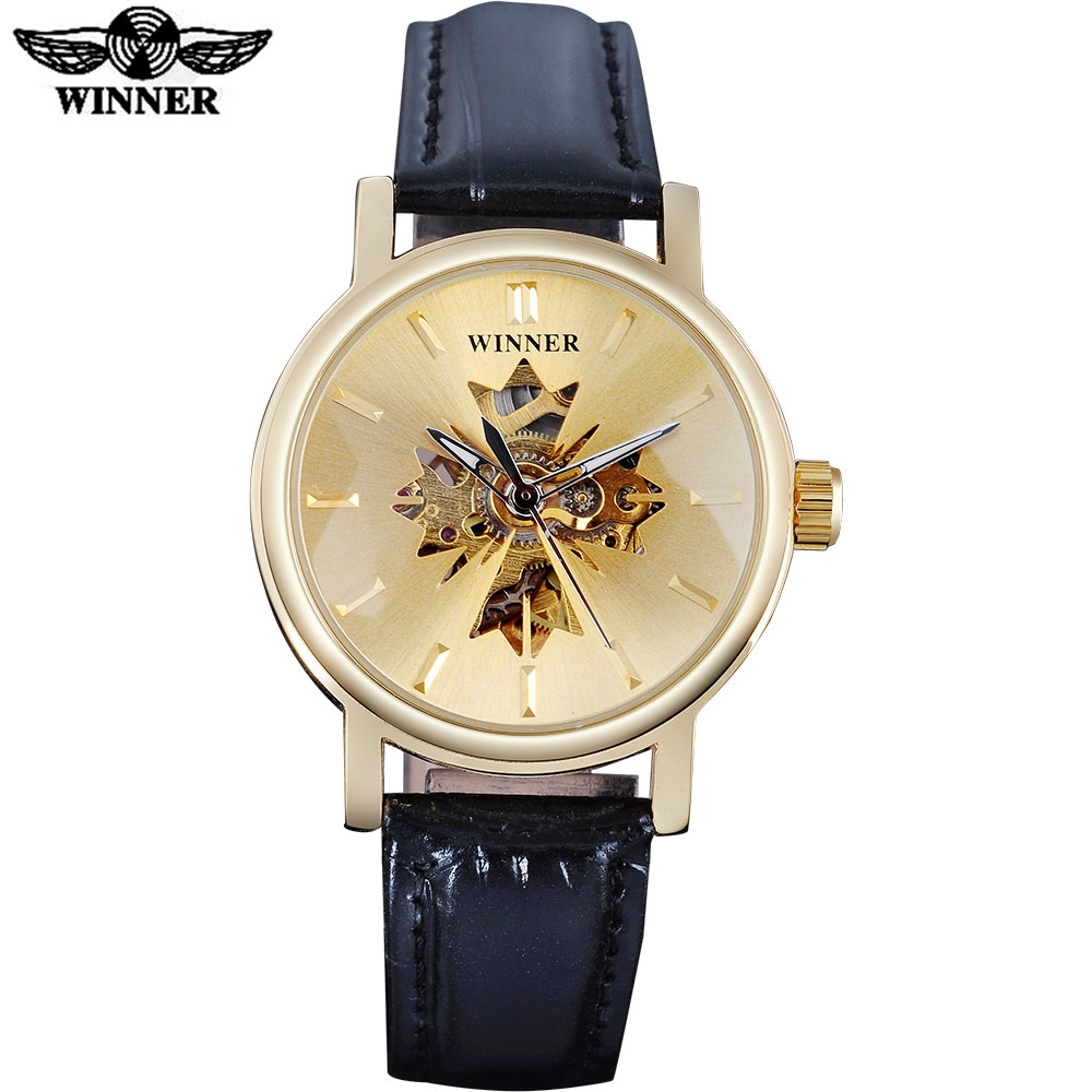 2017 WINNER famous brand women watches  luxury automatic self wind watch skeleton dials transparent glass gold case leather band 360 degree rotating flip case cover swivel stand for ipad mini 3 2 1 white