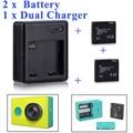 Alta Qualidade Xiaomi yi bateria 2 PCS 1010 mAh bateria + xiaoyi xiaoyi dual carregador Para xiaomi yi action camera xiaomi acessórios yi