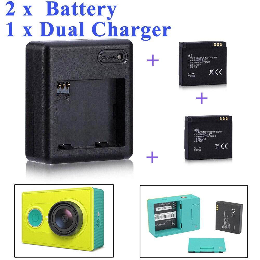Alta qualidade xiaomi yi bateria 2 pçs 1010 mah xiaoyi bateria + xiaoyi carregador duplo para xiaomi yi ação câmera xiaomi yi acessórios