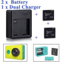 Haute qualité xiaomi yi batterie 2 pièces 1010mAh xiaoyi batterie + xiaoyi double chargeur pour xiaomi yi caméra daction xiaomi yi accessoires