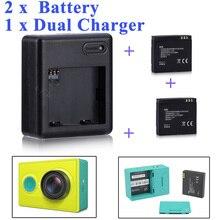 高品質 xiaomi yi バッテリー 2 個 1010mAh xiaoyi バッテリー + xiaoyi xiaomi yi アクションカメラ用デュアル充電器 xiaomi yi アクセサリー
