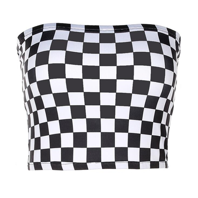 ALI shop ...  ... 32861312619 ... 1 ... Women Black And White Plaid Sexy Strapless Tube Top 2018 New Summer Fashion Checkboard Cropped Bandeau Tops Underwear Bras ...