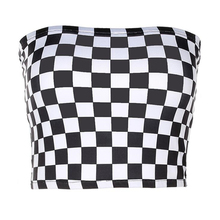 Women Black And White Plaid Sexy Strapless Tube Top 2018 New Summer Fashion Checkboard Cropped Bandeau Tops Underwear Bras
