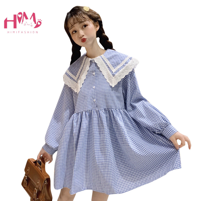Us 2025 22 Offjapan College Sweet Lace Black Dress Women Vintage Plaid Doll Collar Button Up Loose Red Vestidos Lolita Girl Cute Short Dress In
