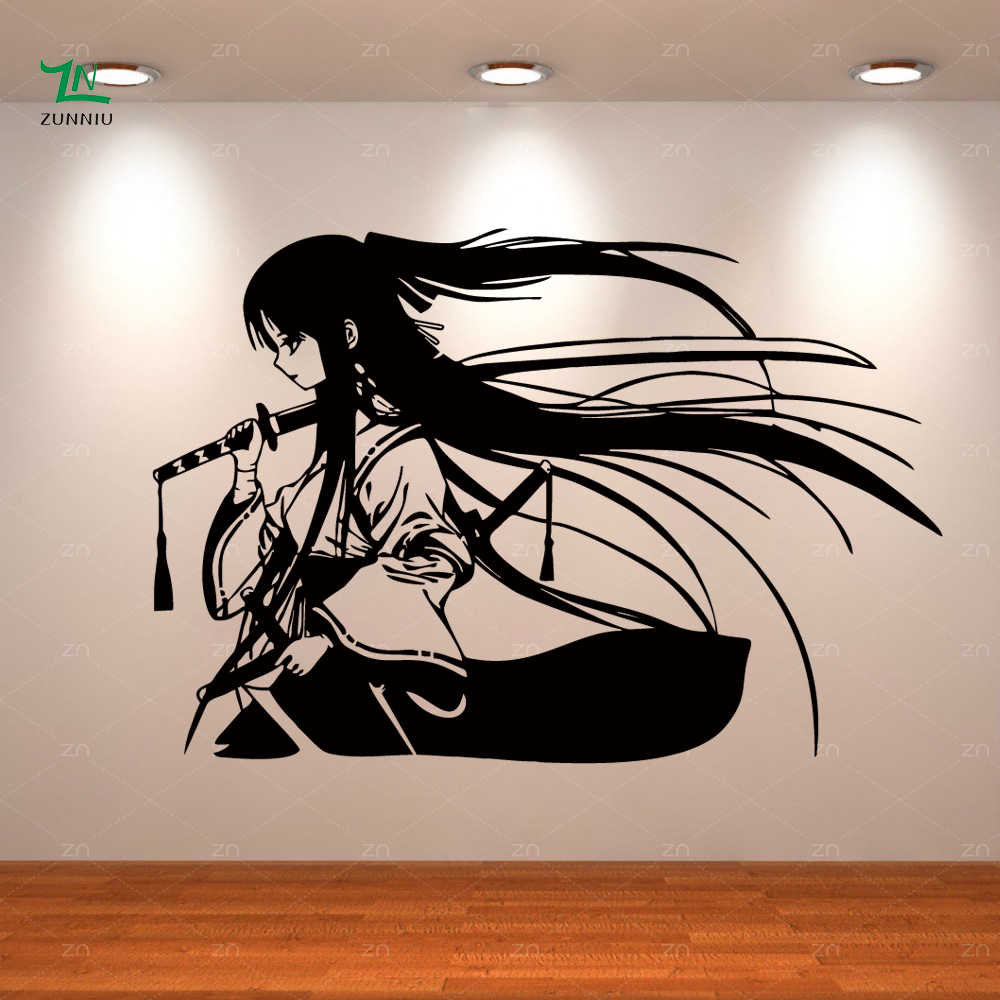 Samurai Geisha Japanese Katana Swords Anime Decorative Vinyl Wall Sticker Home Living room Kids Boys girls bedroom decor mural