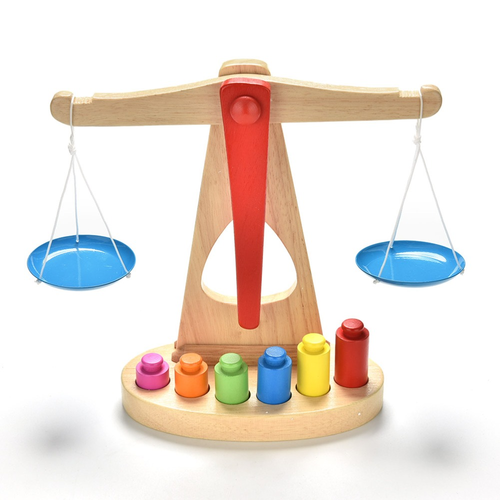 Toys For 6 : Small learning wooden educational toy balance scale
