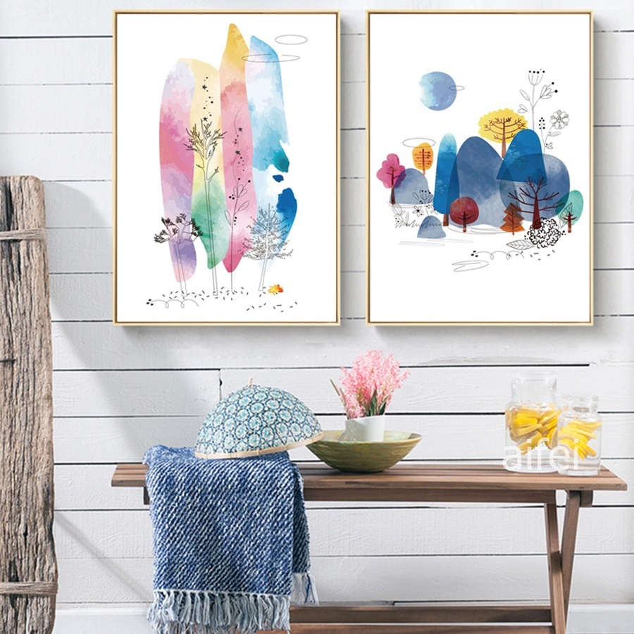 Nordic Poster Creative Ink Line Color Abstract Landscape Decor Painting Modern Home Decoration Living Room Canvas Wall Art