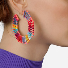 Best lady Multicolored Handmade Raffia Hoop Earrings for Women Wedding Party Gift Brand Design Trendy Statement Earrings Bijoux(China)