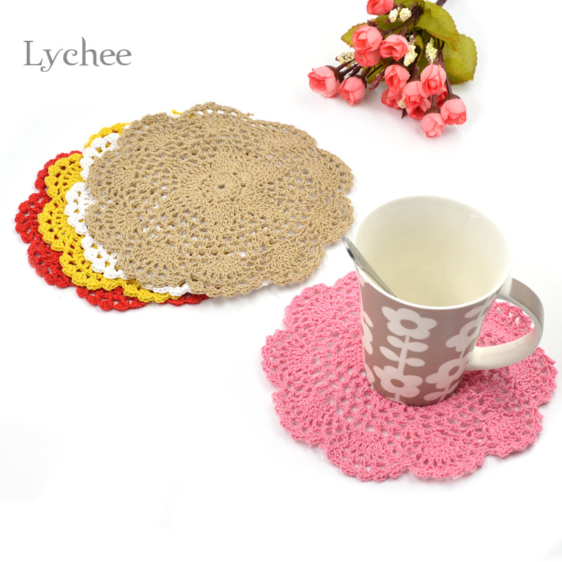 Lychee 2 Pieces/Lot Cotton Handmade Crochet Doilies Cup Mat Pad Coaster Hook Flower Doily Table Mats Tableware Placemat Coasters