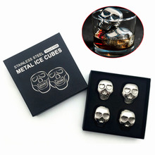 4 pcs/lot Reusable Stainless Steel Skull Ice Cubes Cool Whiskey Stones Ice Cubes With Ice Tong Soapstone Glacier Cooler Stone