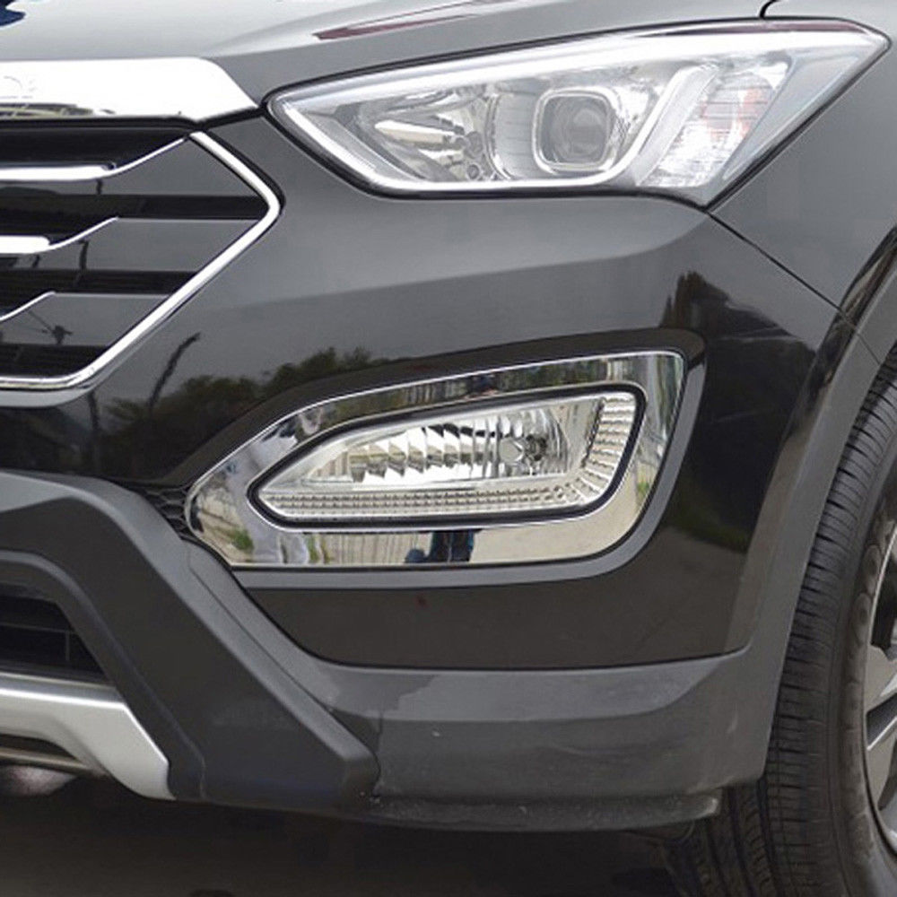 2pcs Car ABS Chrome Front Fog Lights Lamp Cover Trim Decal Fit For Hyundai Santa Fe
