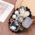 Nova Moda Coréia Retro Beleza Rendas Pérola Strass Jóia do Palácio de Cristal Broche Arte Feminino Badge Pin Broches Para Mulheres Jóias