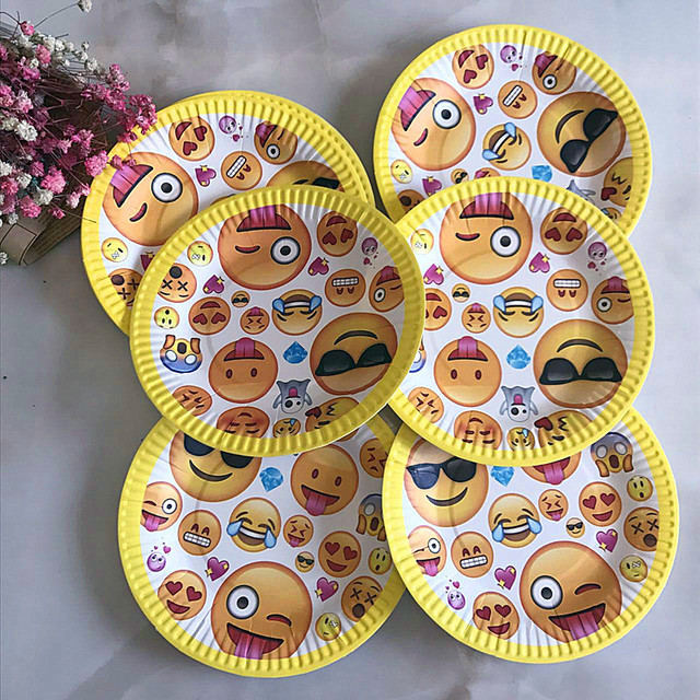 10pcs Disposable Paper Plate Cartoon Cute Emoji Theme Kid Boy Birthday Party supplies 7inch Printing Round  sc 1 st  AliExpress.com & 10pcs Disposable Paper Plate Cartoon Cute Emoji Theme Kid Boy ...