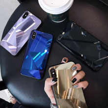 3D Diamond Mirror Glass Phone Case For iPhone 7 8 6 6s Plus X XS Max XR Shiny Prism Bling Huawei P20 Pro Honor 10