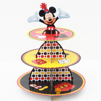 2sets Cartoon Mickey Mouse Baby Shower Birthday Party Decorations Supplies Cardboard Cupcake Stand Hold 24 Cupcakes