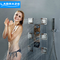 German LABRAZE Into Tropical Side Wall Dark Outfit Full Copper Cooling Spray Massage Shower Waterfall Faucet