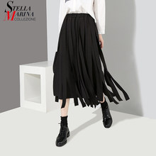 f8d941cf8d 2018 Korean Style Women Black Blue A-Line Skirts With Many Tapes Elastic Waist  Mid Calf Length Stylish Unique Casual Skirts 3833