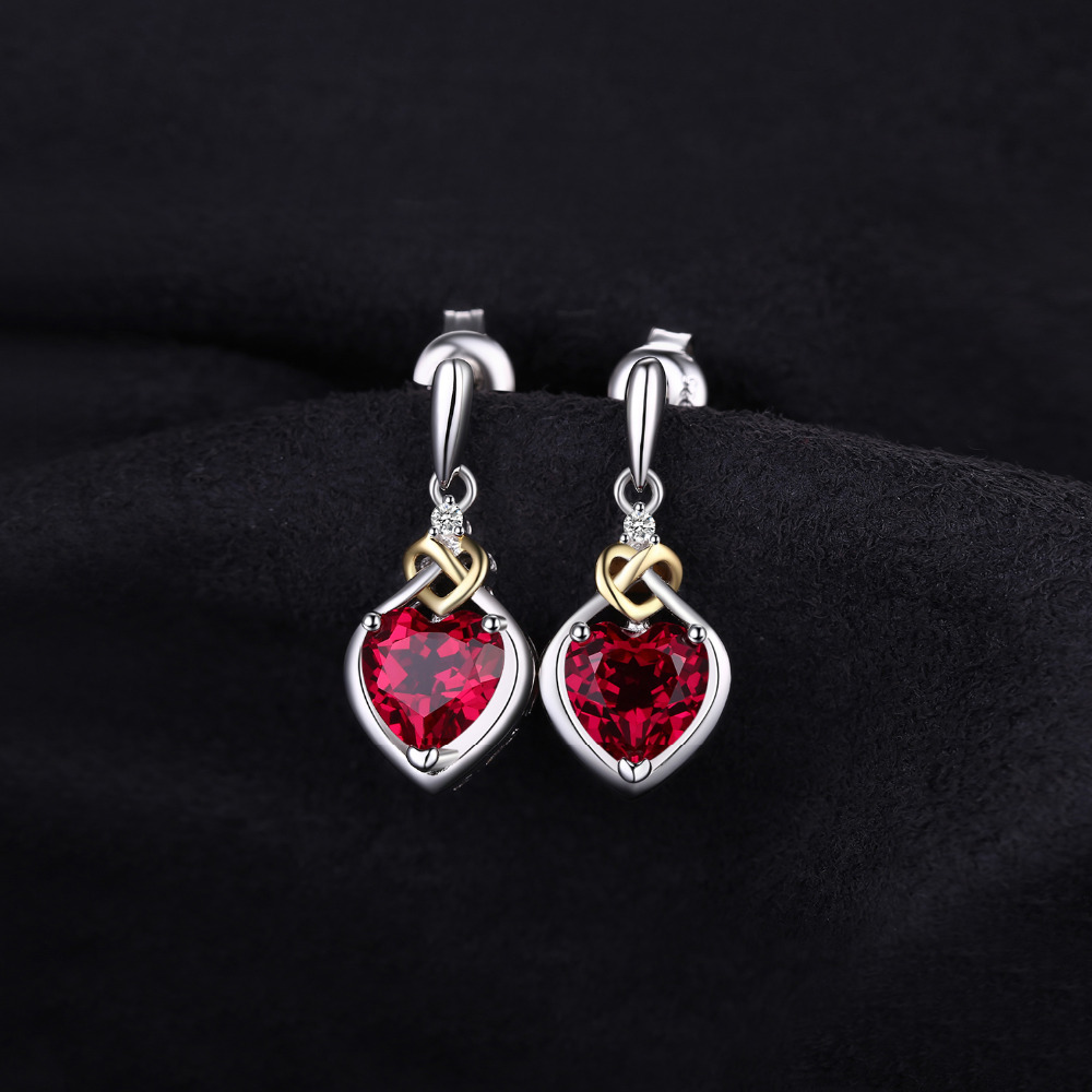 SmyckenPalace Love Knot Heart 3.4ct Skapad Red Ruby Anniversary Drop - Fina smycken - Foto 2