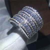Luxury Big Jewelry Women Wedding Band Ring 925 Sterling Silver T Shape Simulated Diamond Cz Female
