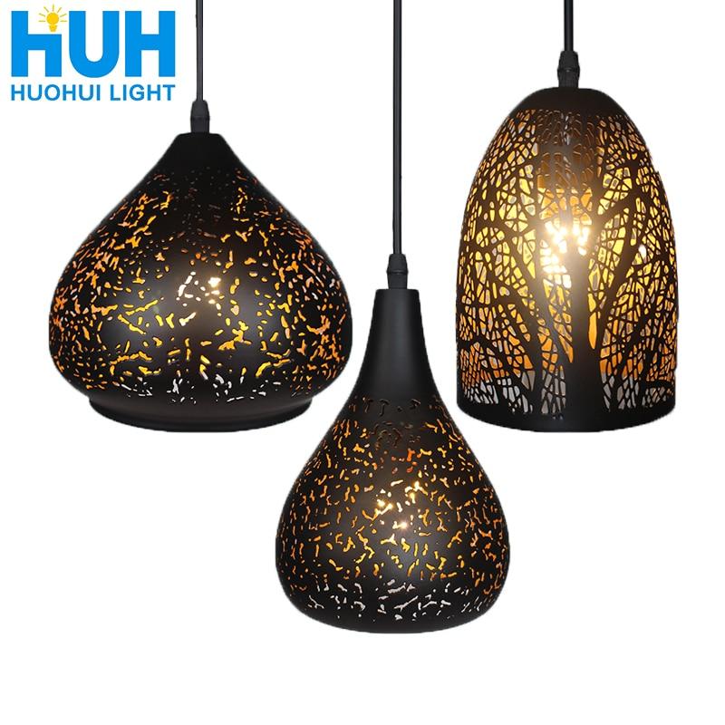 בציר תליון אור נורדי נקבובי לופט E27 LED ברזל תחריט אהיל בר מסעדת מנורת יצירתיות סגנון חלודה תליון מנורה