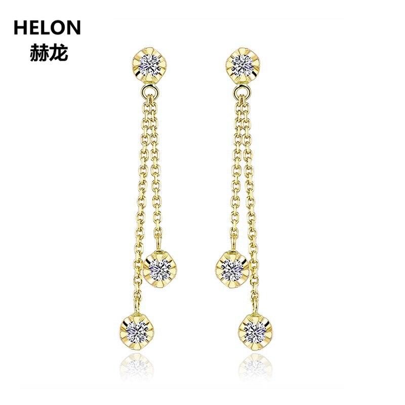Solide 18 k or jaune diamants naturels boucles d'oreilles pour femmes fête fiançailles mariage anniversaire bijoux fins boucles d'oreilles à la mode