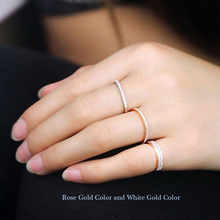 Rose Gold Plated Wedding Band Eternity Rings For Women 1mm Cz Diamond Knuckle Ring Female Simple Stackable Sterling Silver Ring