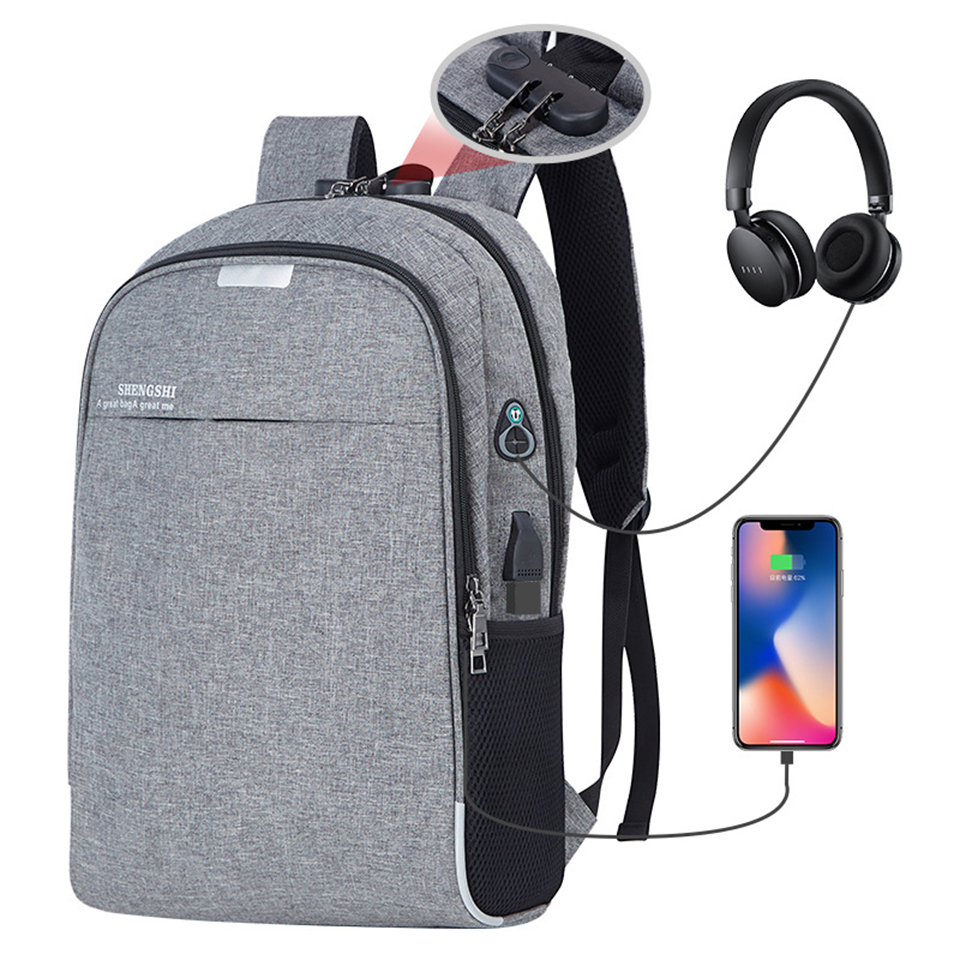 Anti Theft Backpack Men Male Laptop Student Backpacks 15.6 Inch Notebook Mochila Mens Backpacking USB Charging Waterproof Women