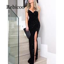 цена на Women high slit spaghetti strap dresses Sexy V neck club party dress Maxi black sequined vestidos