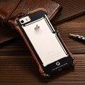 Luxo original-apenas r para apple iphone 5 à prova de choque de metal de alumínio + madeira casos de telefone celular capa para iphone 5 5s 5se js0505