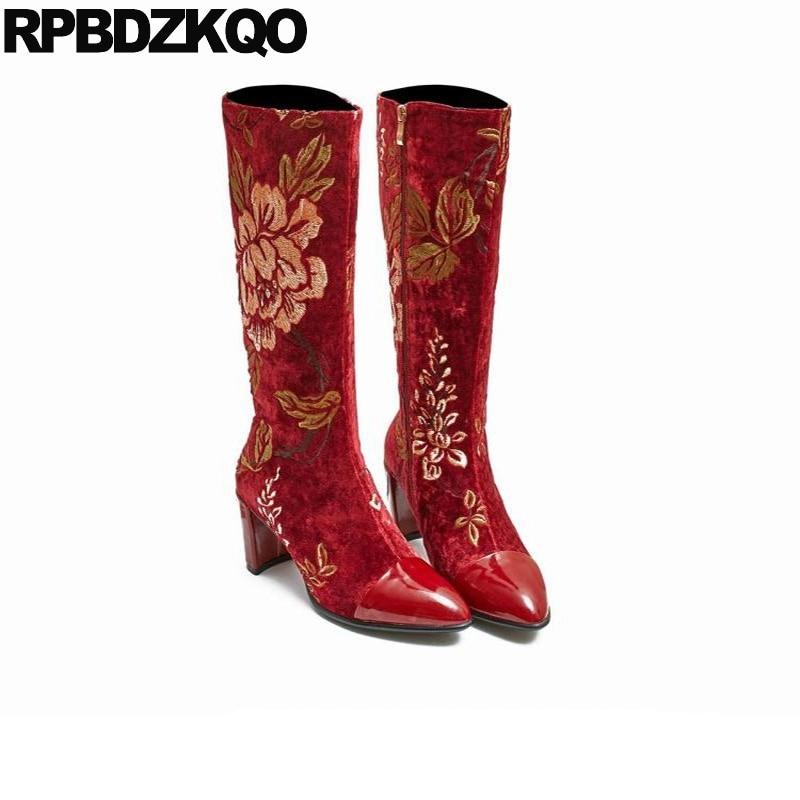 Beige Spitzen Bestickt Schuhe rot Stickerei Luxus Große Vintage Dicke Blume Frauen Spitz Kniehohe Chunky Größe Marke Stiefel 10 YFq1afww