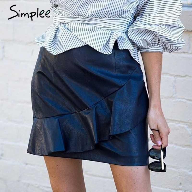 8823594660c45 Simplee рюшами черная короткая кожаная юбка с высокой талией уличной  красный мини-юбка Женская Нижняя