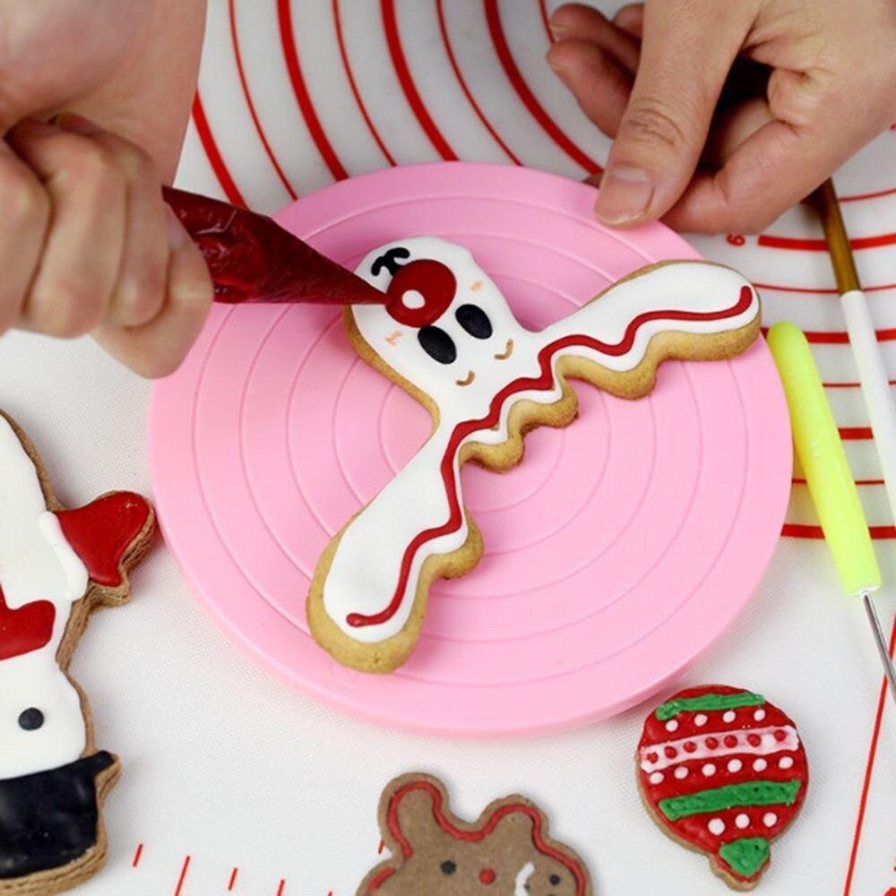 2018 Keuken Mini Taart Plaat Revolving Decoratie Stand Platform Draaitafel Ronde Roterende Cake Swivel Kerst Bakken Tool M3 Op Reis