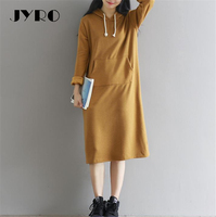 JYRO Brand Mori Women S Dresses New Literary Hooded Long Loose Large Size Mid Calf Long
