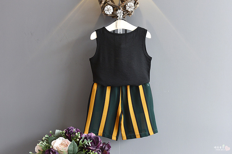 1st-2018-Summer-New-Girls-Summer-Style-Pearl-Pearl-Sleeveless-Tank-Top-Stripe-Belt-Contrast-Color (2)