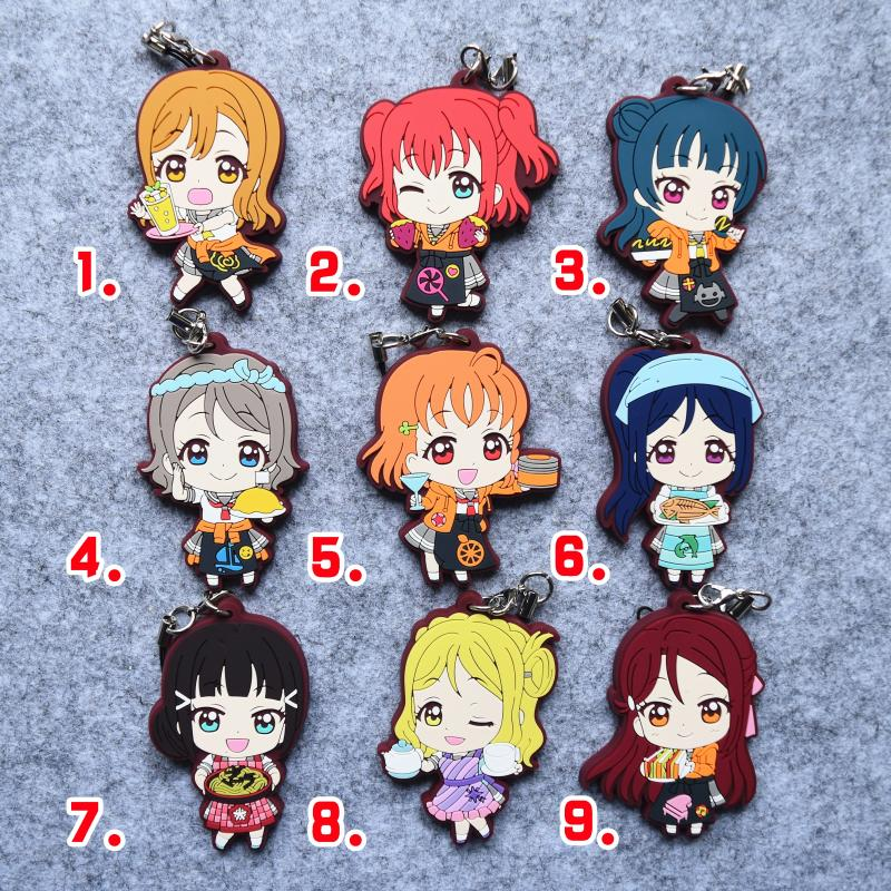 Love Live Sunshine Aqours Anime Chika You Yoshiko Ruby Dia Kanan Hanamaru Mari Riko Waitress Rubber Keychain