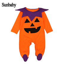 New Infant baby girl clothes Halloween pumpkin style fashion cotton long sleeve baby romper 0-18 Months Y905