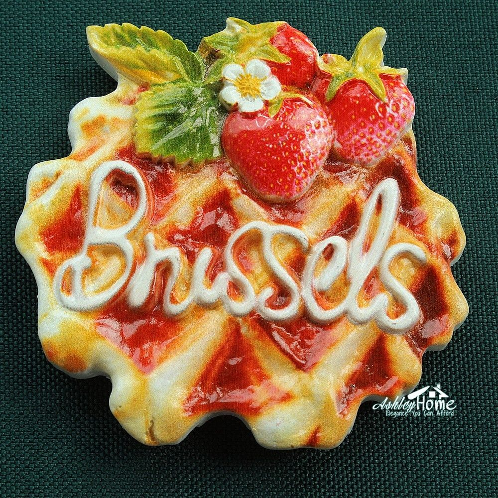 Belgium Brussels Waffle, Tourist Travel Souvenir 3D Resin Decorative Fridge Magnet Craft GIFT IDEA