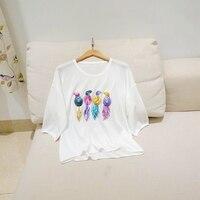 Colorful Sequin Bird Heavy Nail Bead 4 Colors Optional Pleasantly Cool Linen Shirt Blouses Drop Shoulder