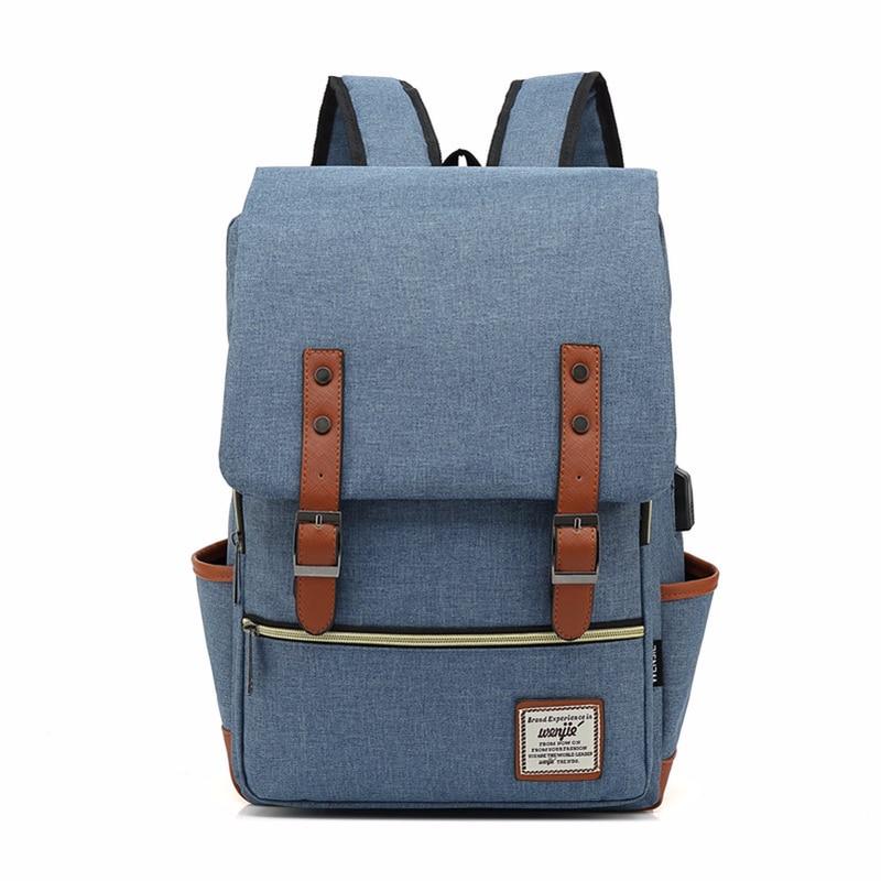 Retro remache cuero USB cinturón antirrobo niño Niña estudiante bolso escolar libro adolescentes mujeres Bagpack hombres mochila viaje Bag9