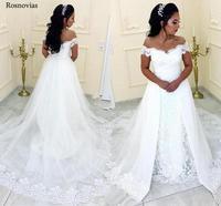 Off Shoulder Over skirts Wedding Dresses Black Girl Off Shoulder Sweep Train Modern Garden Beach Bridal Gowns Robe De Mariée