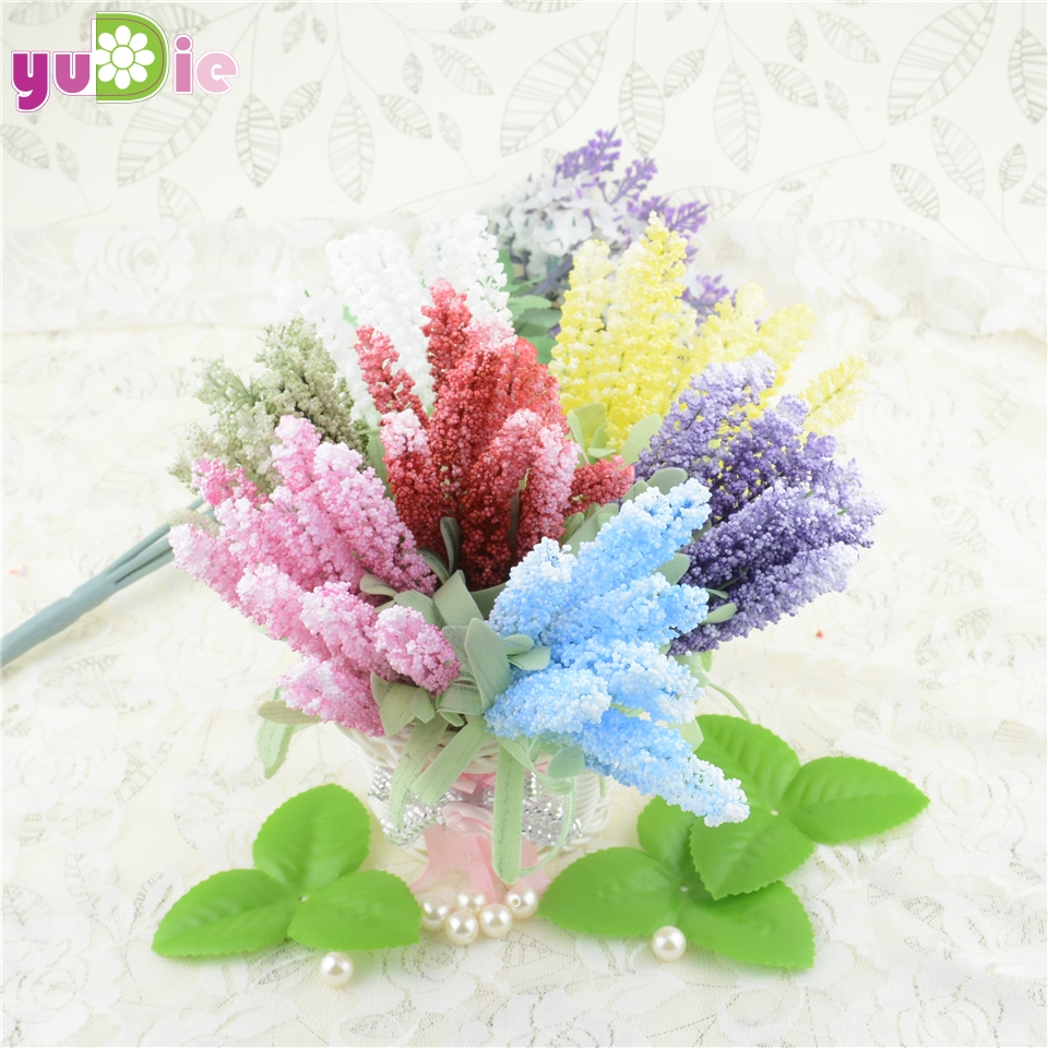 10PCS Fake Flowers Artificial Flower Bouquet Artificial Lavender Flower Garden Decoration home accessories Flowers for Crafts