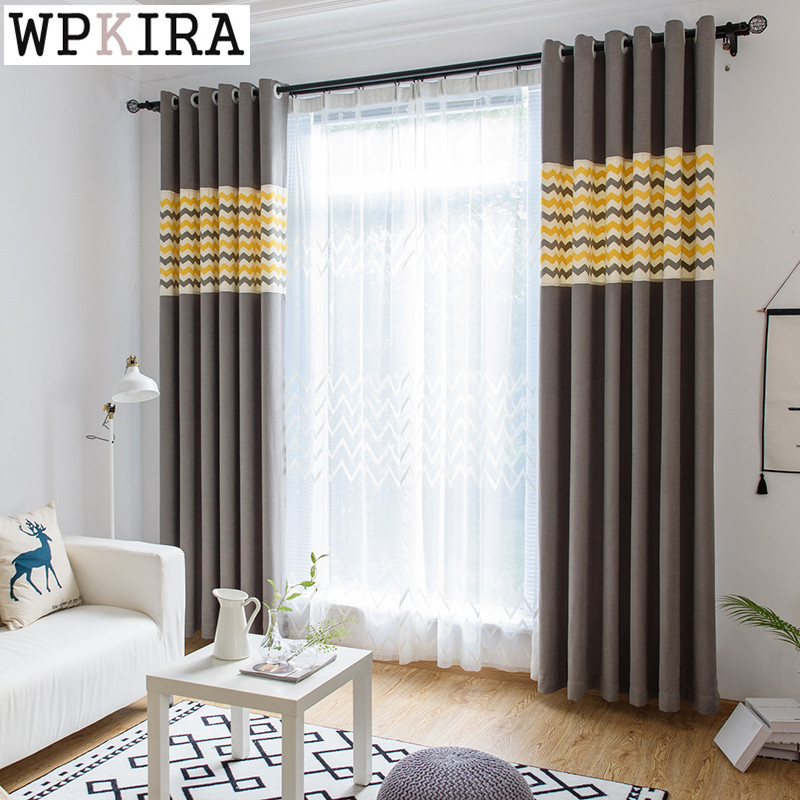 US $8.56 42% OFF|Kitchen Stitching Curtain Chenille curtains Blackout  Curtains Shading Simple Living Room Bedroom Product Customized S034&40-in  ...