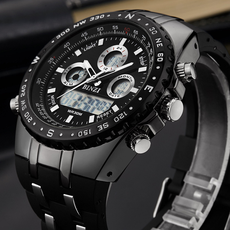 BINZI Brand Luxury Sport Wrist Watch Men's Military Waterproof Watches Fashion Silicone LED Digital Clocks Men Smart Wristwatch